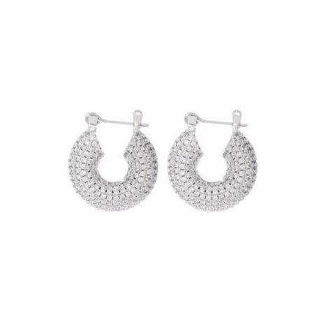 Pave Mini Donut Hoops - Silver