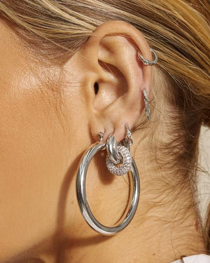 The Pave Interlock Hoops - Silver
