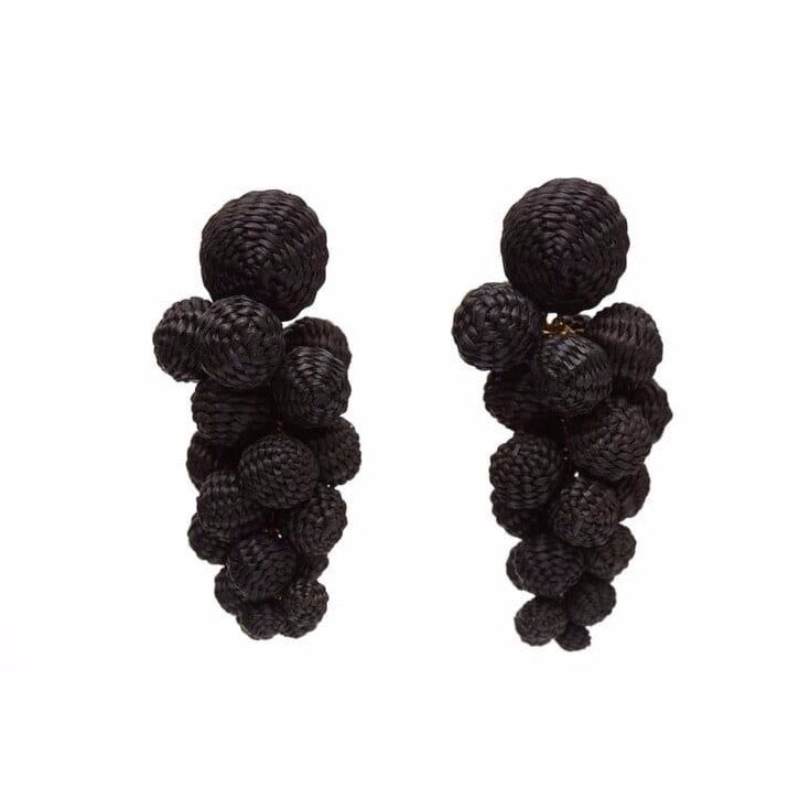 Iraca Palm Drop Earrings Black