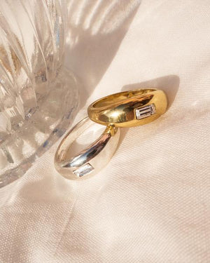 Baguette Dome Ring - Gold