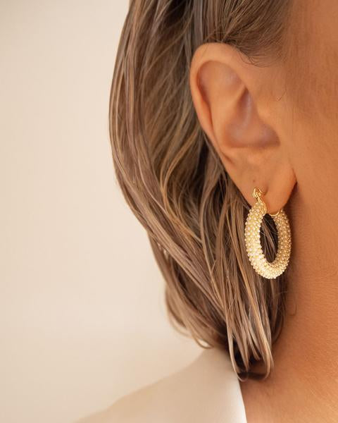 Pearl Pave Baby Amalfi Hoops - Gold