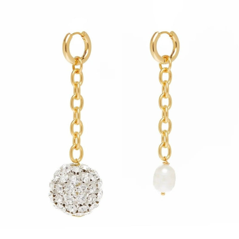 Drop Pearl And Strass Earrings