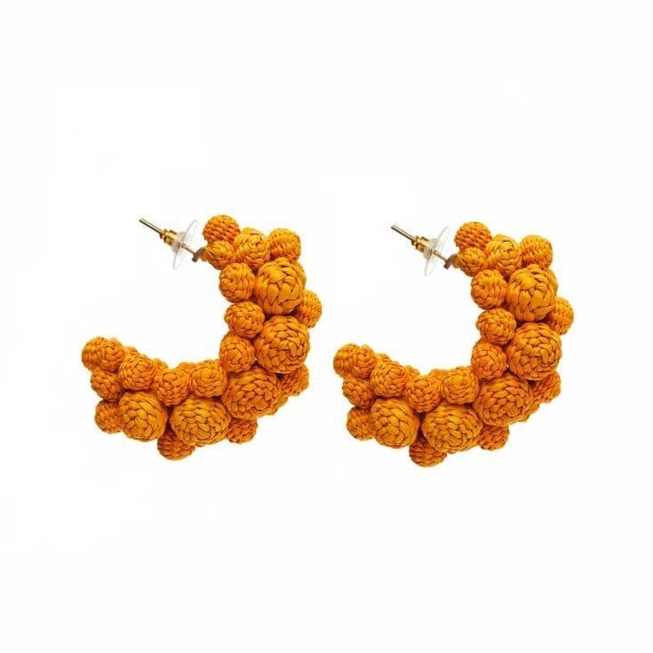 Iraca Palm Alegria Earrings Yellow