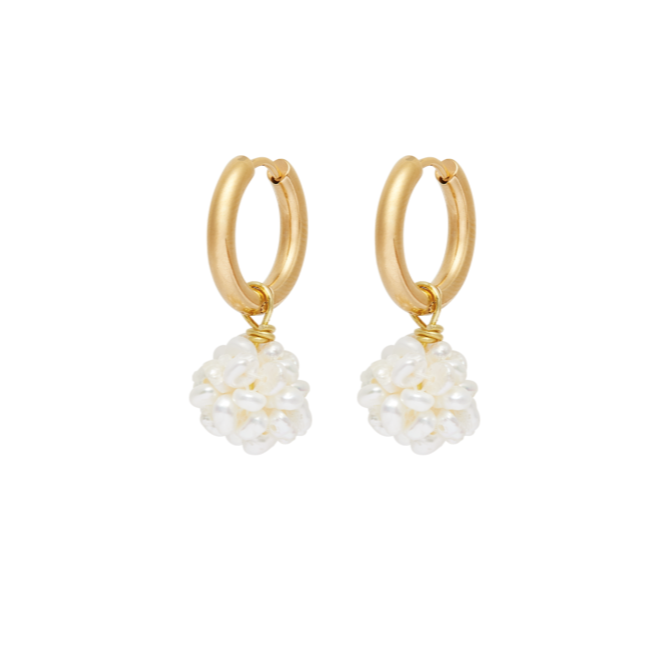 Flori White Earrings