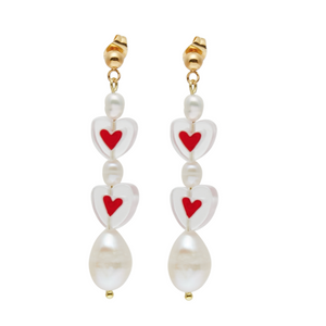 Voulez Vous Red Heart Earrings