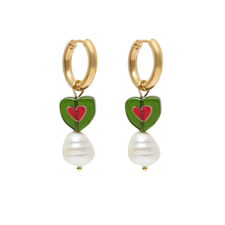 Top-Less Green Heart Earrings