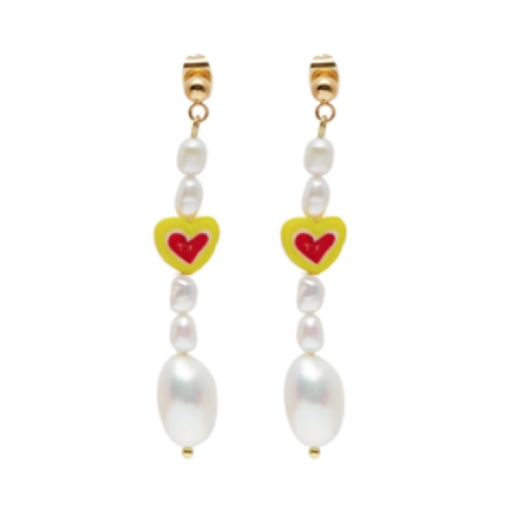 White Light Yellow Heart Earrings