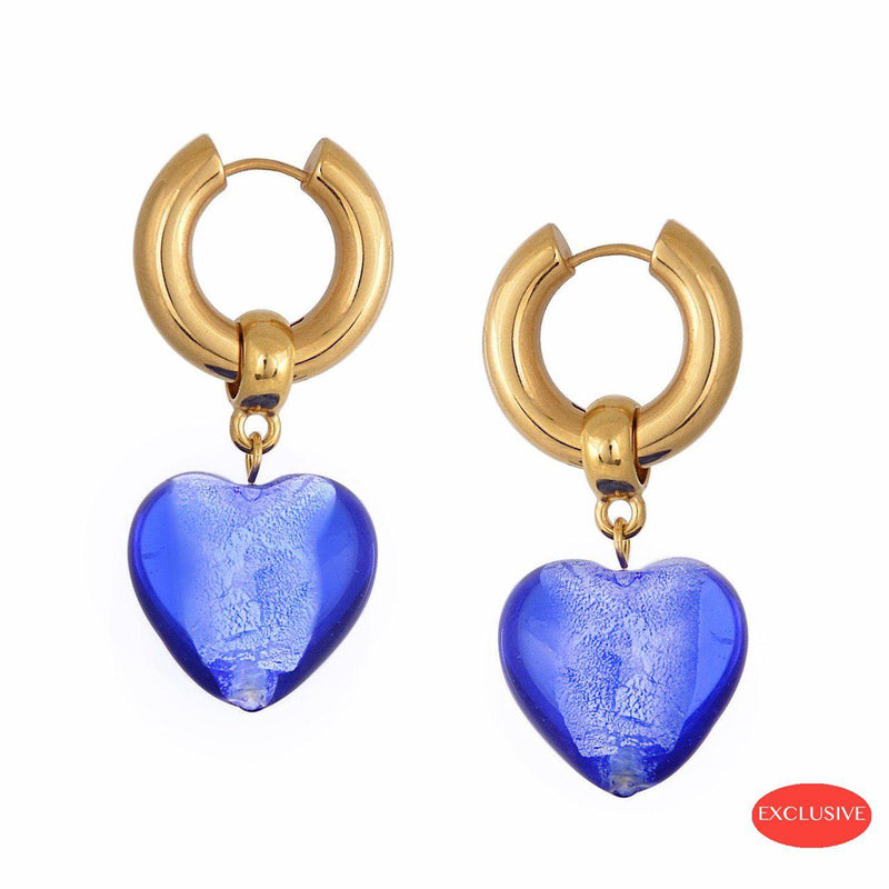 Heart of Glass Earrings - Blue