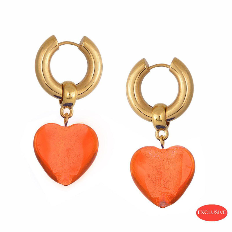 Heart of Glass Earrings - Orange
