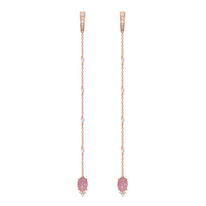 Pink Tourmaline Chain Earrings