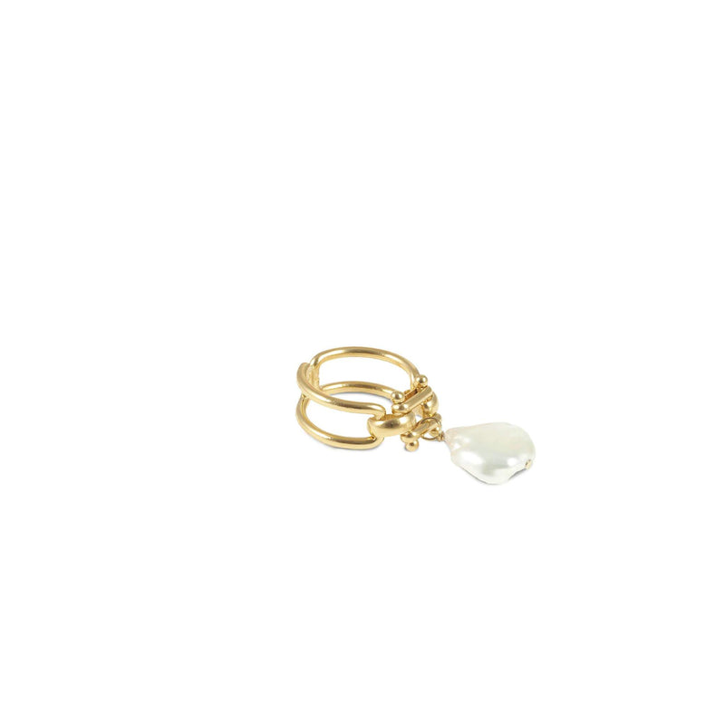 Gold Bague Baroque Pearl Ring