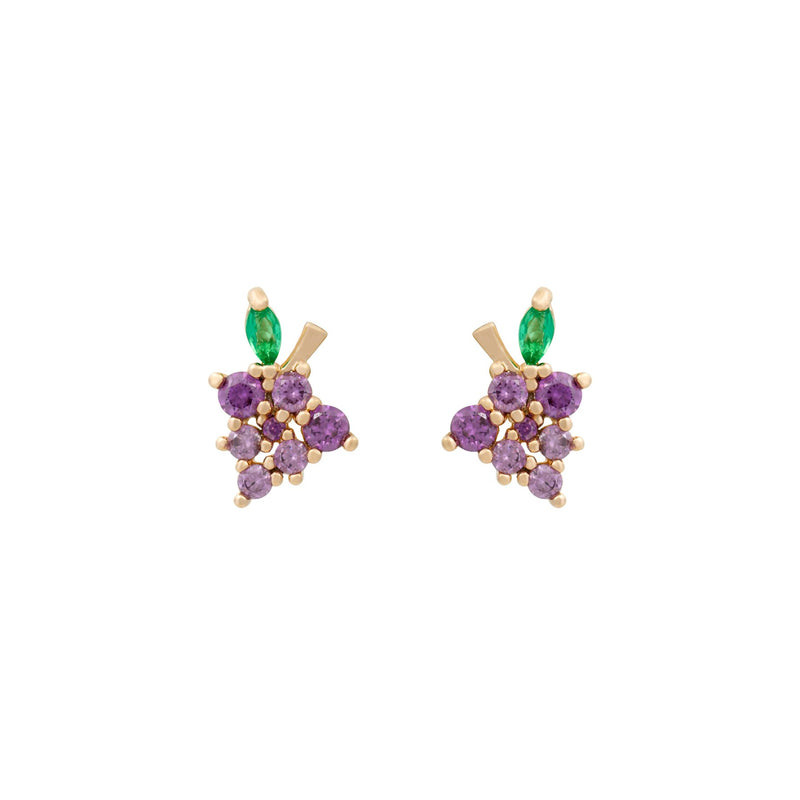 Mini Earrings - Grapes Crystal