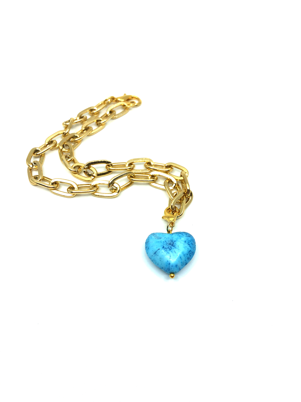 Turquoise Coral Heart Necklace