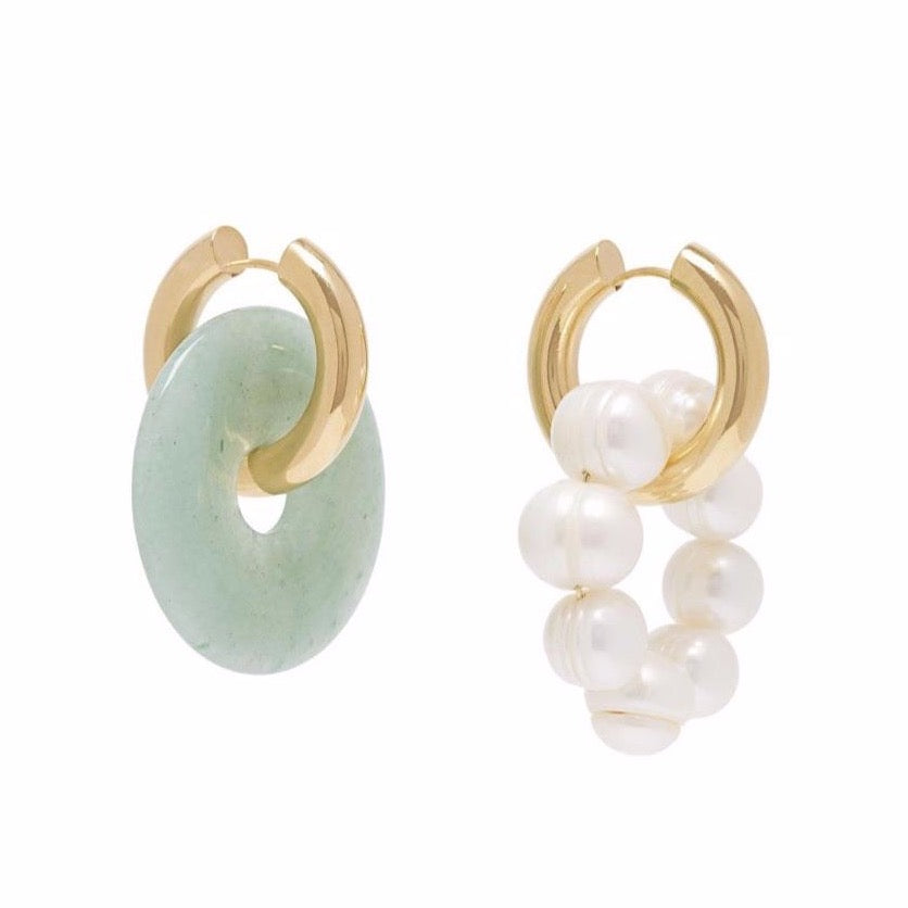 Mismatched Jade & Pearl Earrings Green