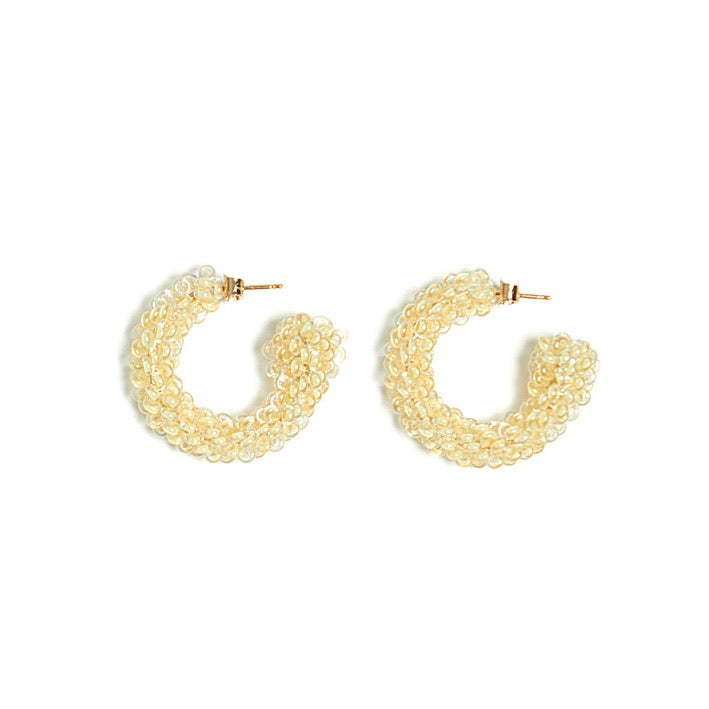 Yellow Evening Beaded Earrings