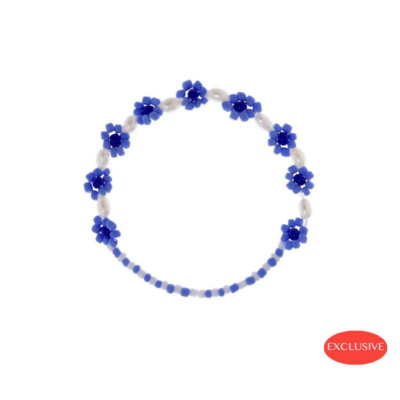 Blue Flowers Anklet