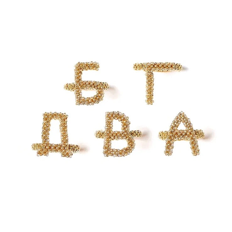 Letter Gold Beaded Ring