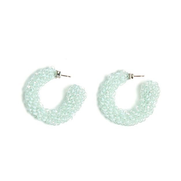 Mint Evening Beaded Earrings