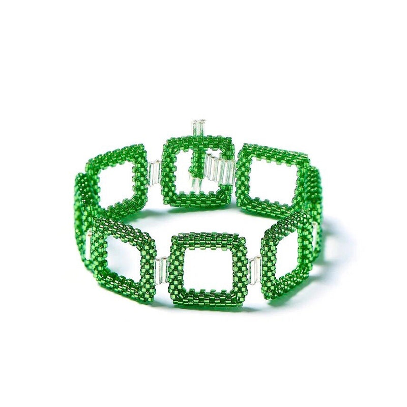 Green Square Beaded Bracelet