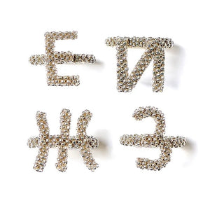 Letter Silver Beaded Ring