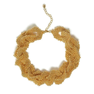 Chain Frill Gold Beaded Necklace