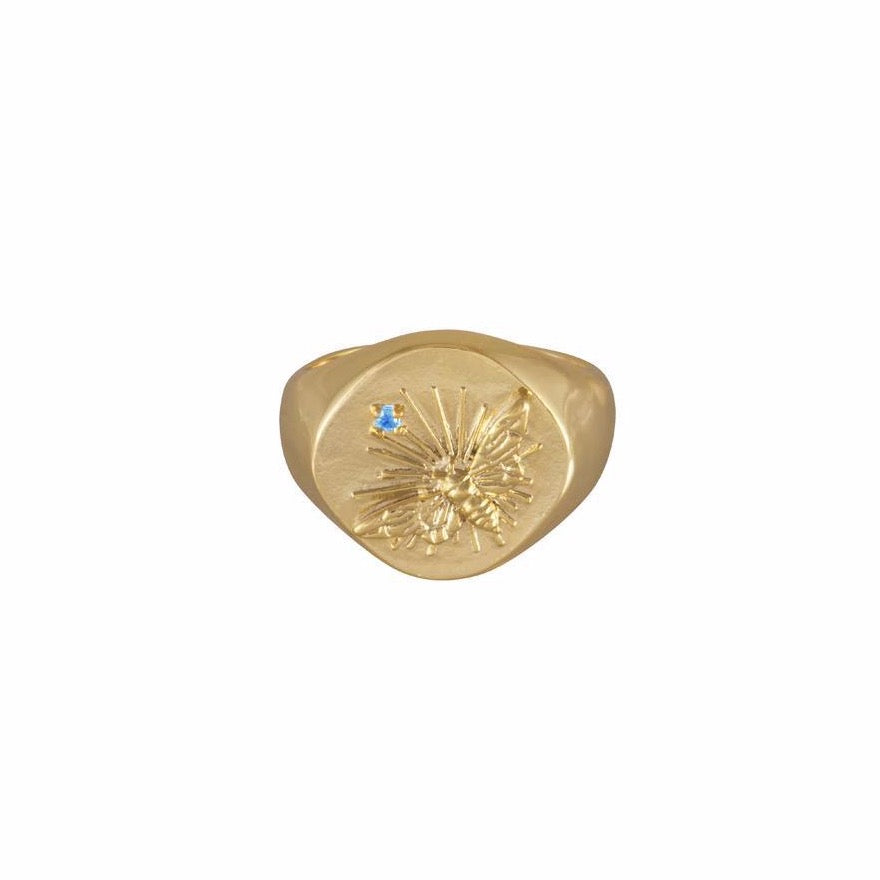 Bee Gold Signet Ring