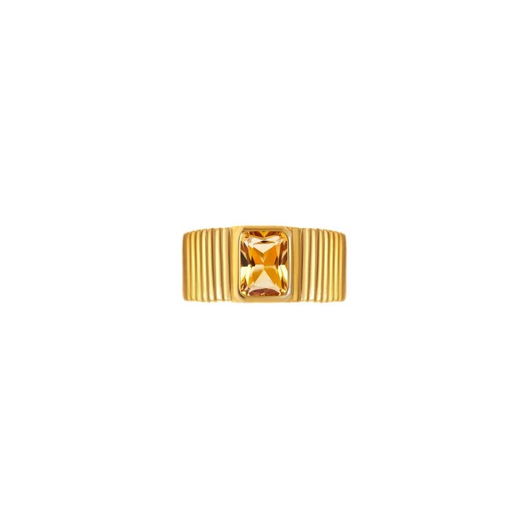 Egyptian Gold Yellow Citrine Ring