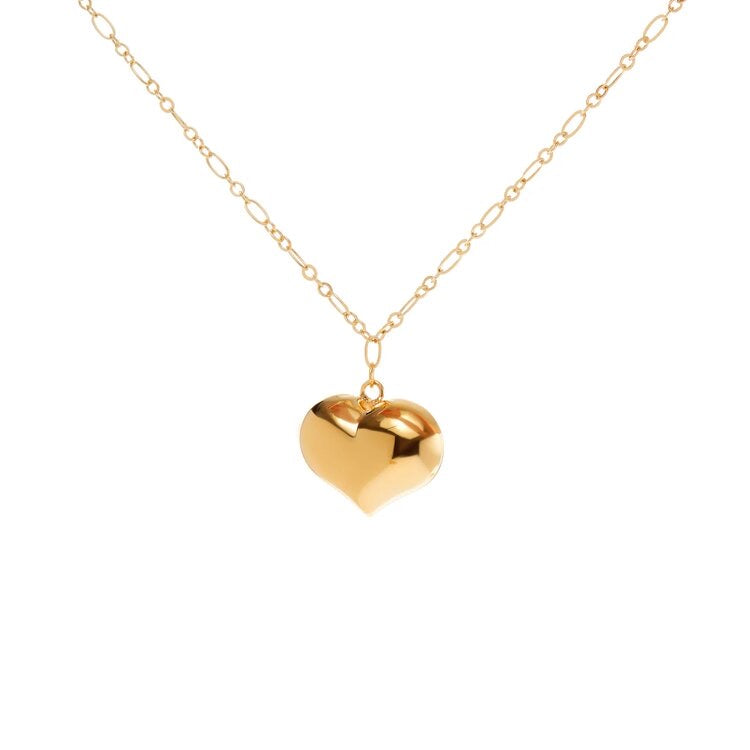 Gold Big Heart Chain Necklace