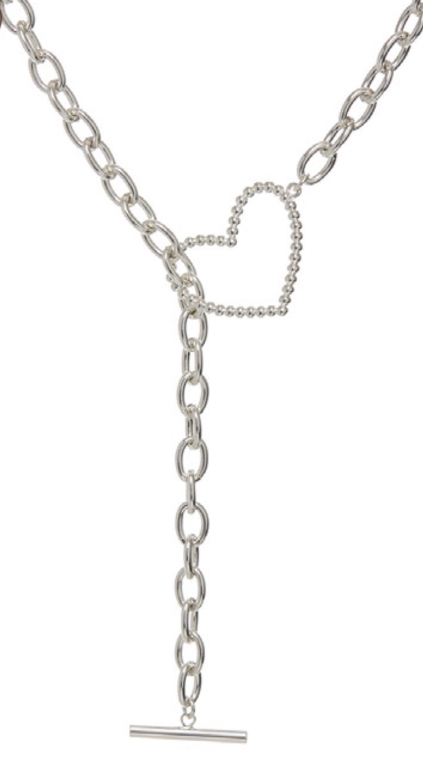 The Heart + Chain Lariat - Silver