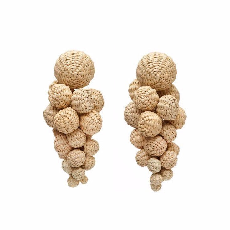 Iraca Palm Drop Earrings Natural