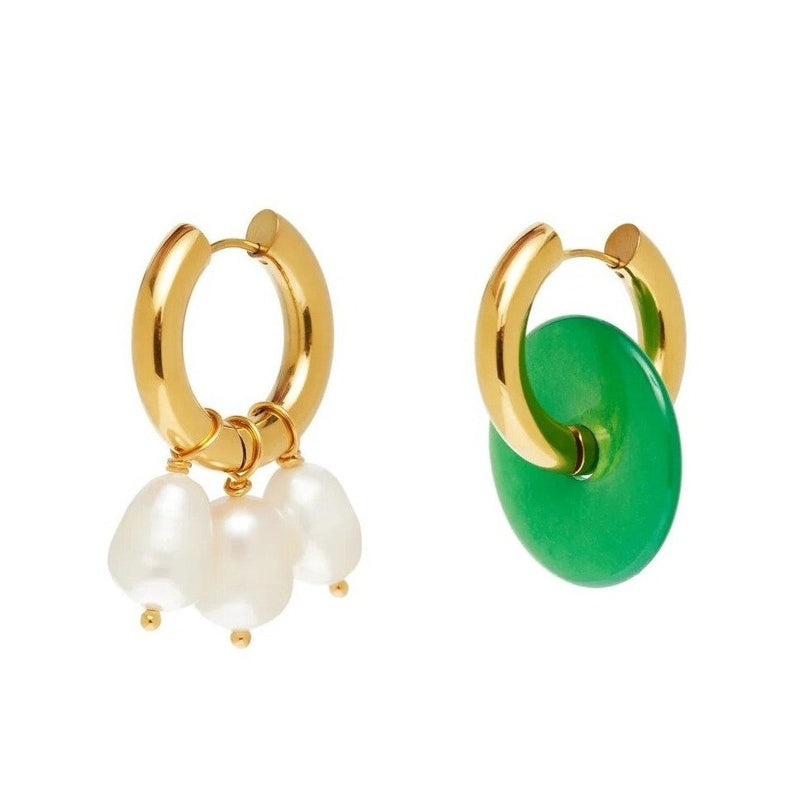 Mismatched Green Donut & Pearl Earrings
