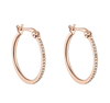 Gold Hoops White Topaz Earrings