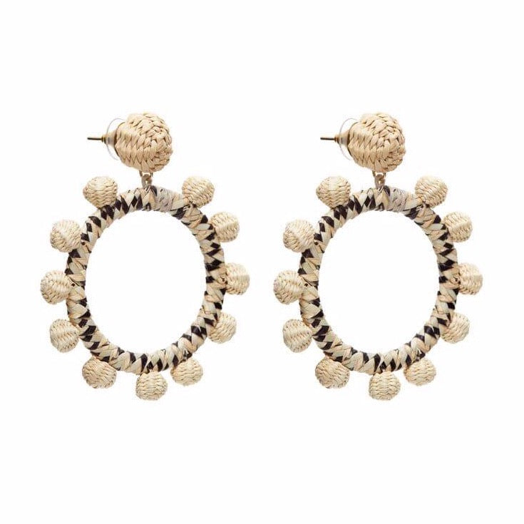 Iraca Palm Flamenco Earrings Natural