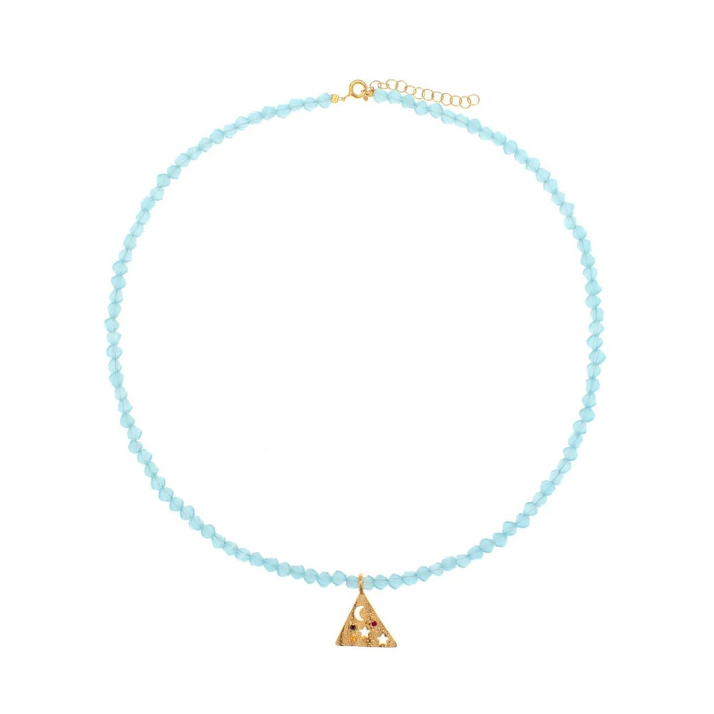 Melies Pyramis Turquoise Crystal Necklace