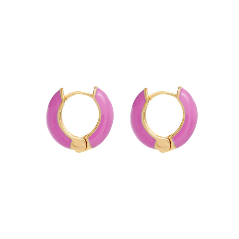 Huggie Hoop Earrings - Pink