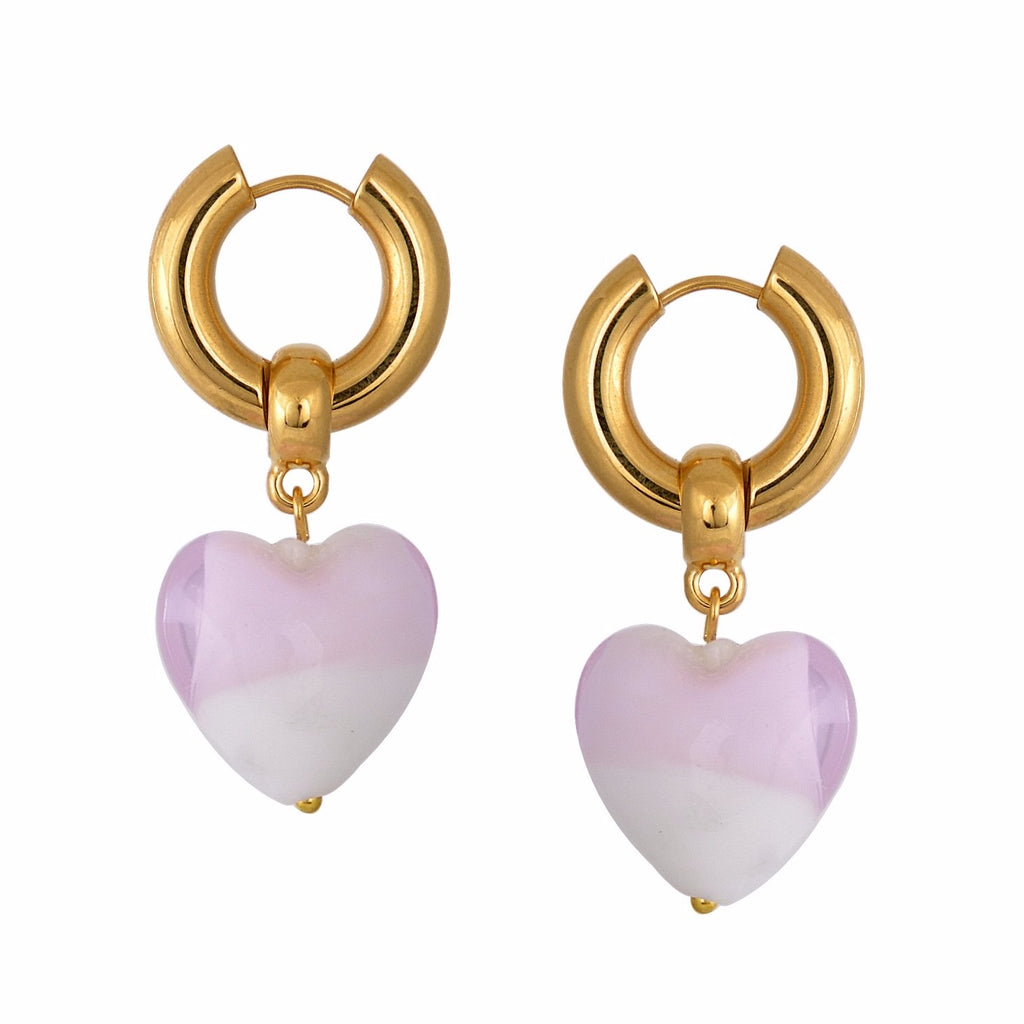 Heart of Glass Earrings - Pink