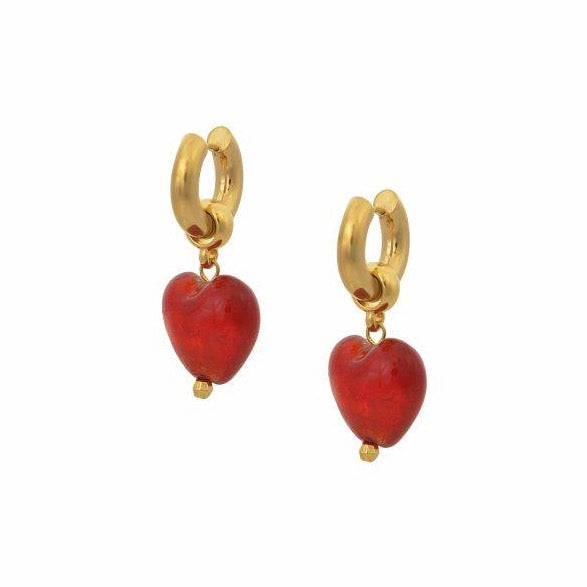 Heart of Glass Earrings - Red