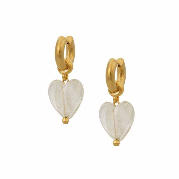 Heart of Glass Earrings - White