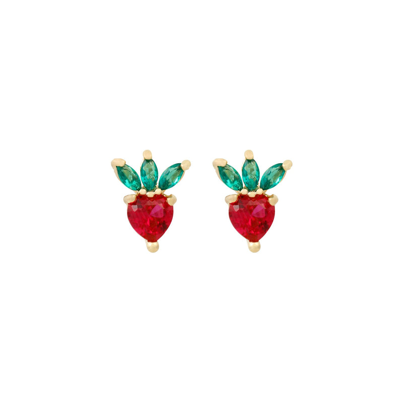 Mini Earrings - Red Strawberry Crystal