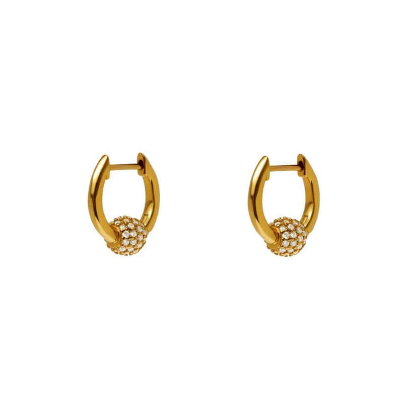 Small Earrings With Ball - Rhinestone