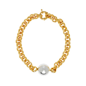 Massive Gold Chain With Silver Ball Necklace/Bracelet