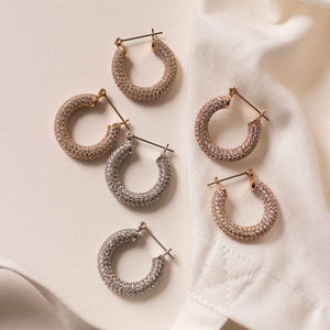 Pave Baby Amalfi Hoops - Rose Gold