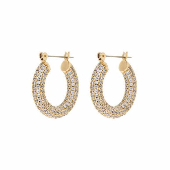 Pave Baby Amalfi Hoops - Gold