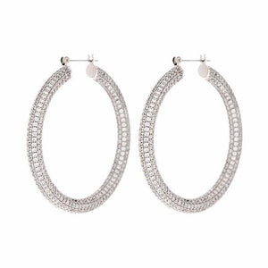 Pave Amalfi Hoops - Silver