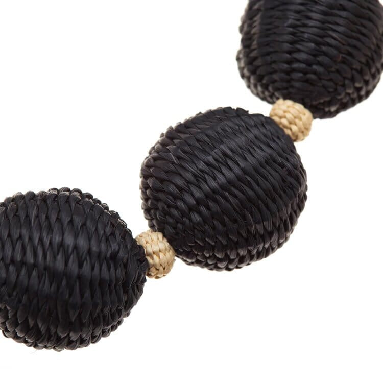 Iraca Palm Ball Short Necklace Black