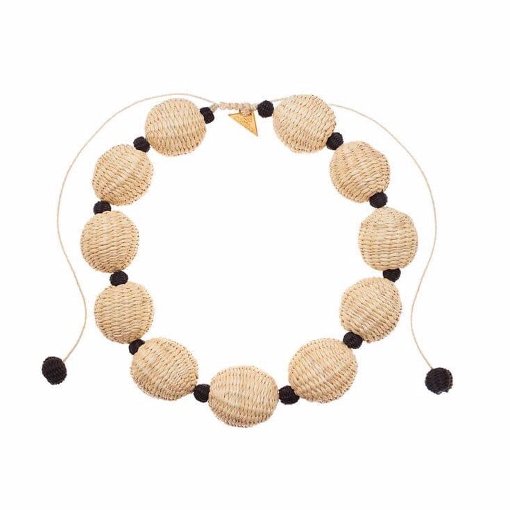 Iraca Palm Ball Short Necklace Natural