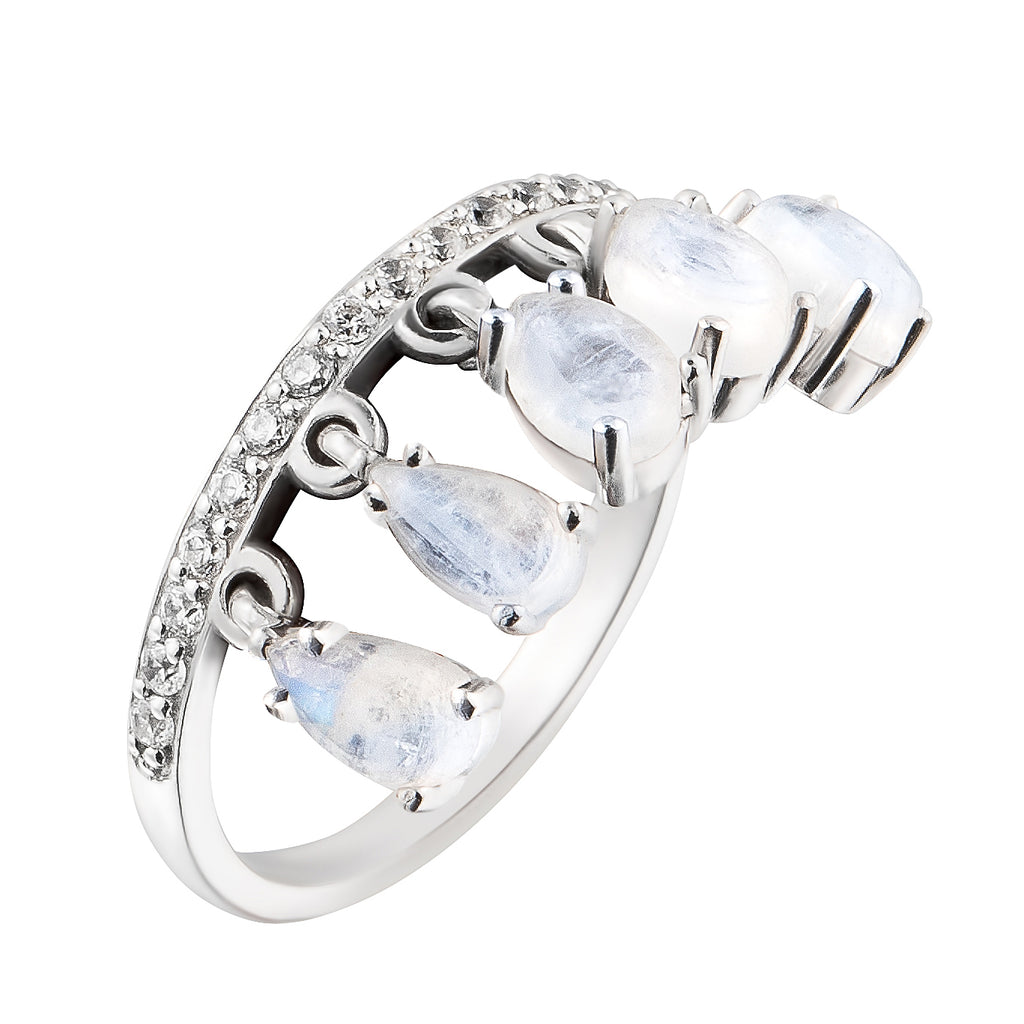 Moonstone Pendant Ring With White Topaz