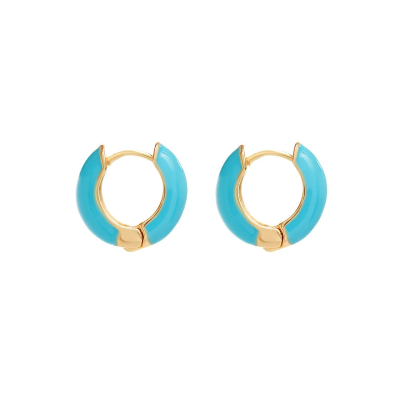 Huggie Hoop Earrings - Blue
