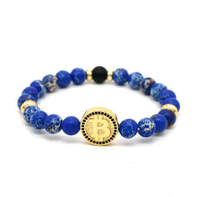 Bracelet Bitcoin Or en perle bleue Le Cryptopolitain