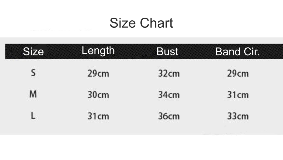 wide strap sports bra size chart